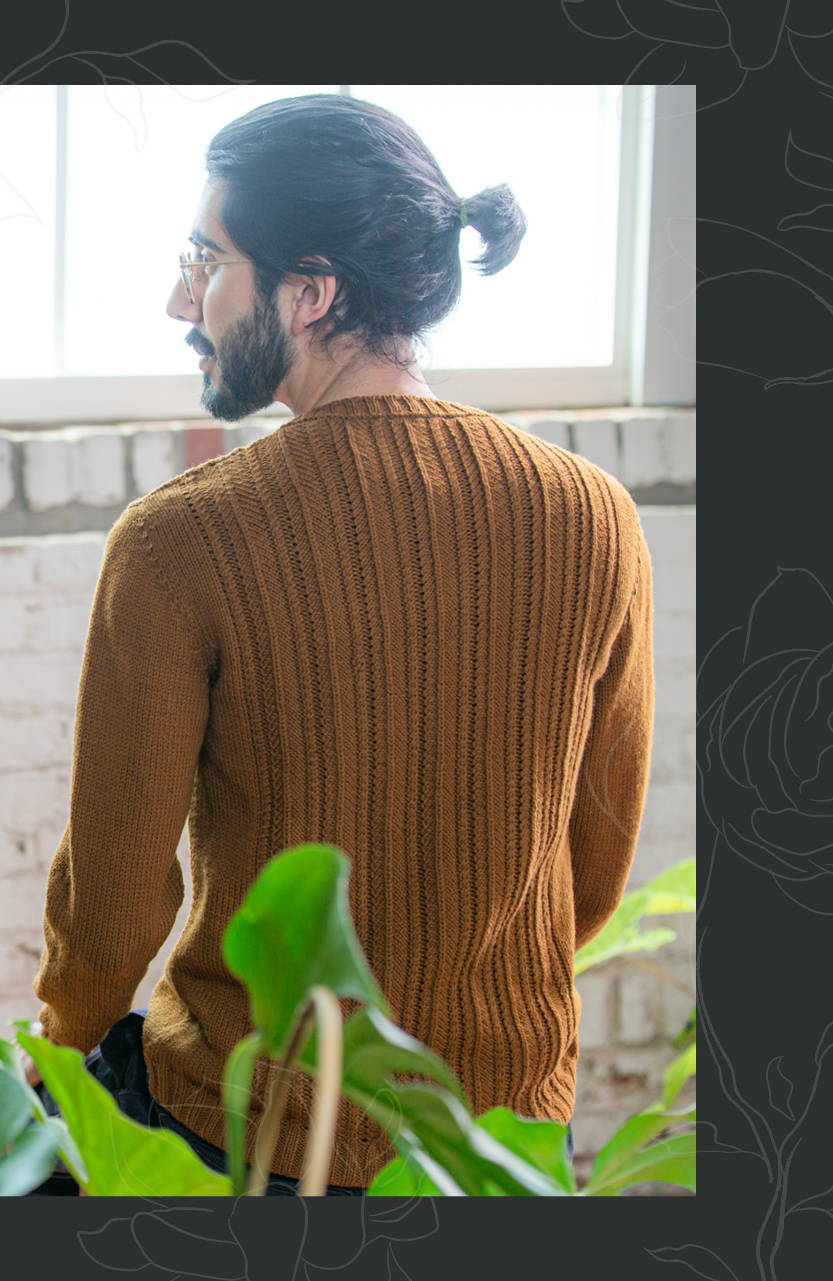 Image of Omar modeling Haskins in Burnished back view
