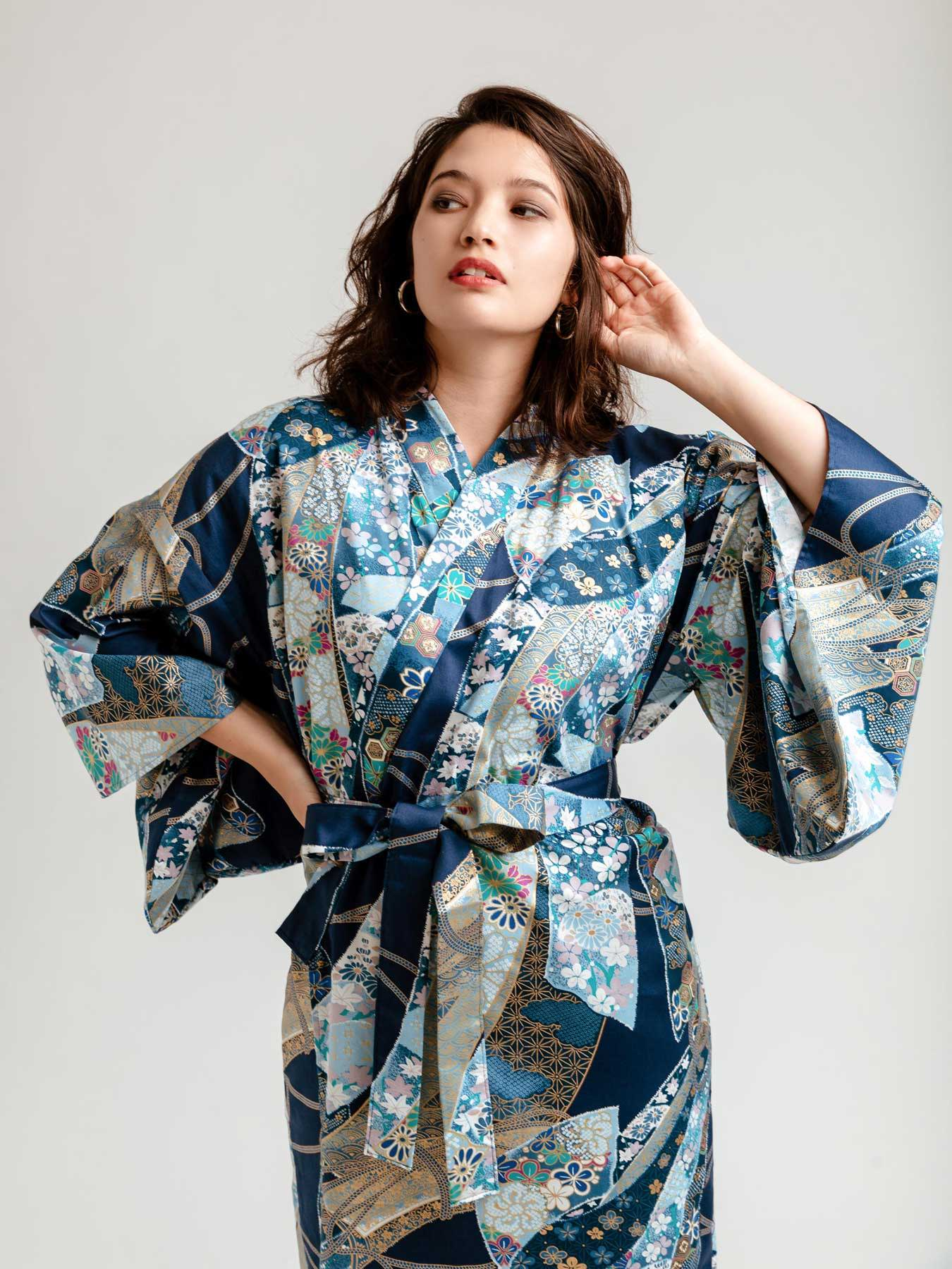 Wood Block print fabric Soft and comfortable night robes Cotton wrap dress Cotton kimono Robes for women Dressing gown for women
