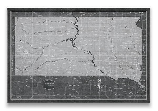 South Dakota Push pin travel map modern slate