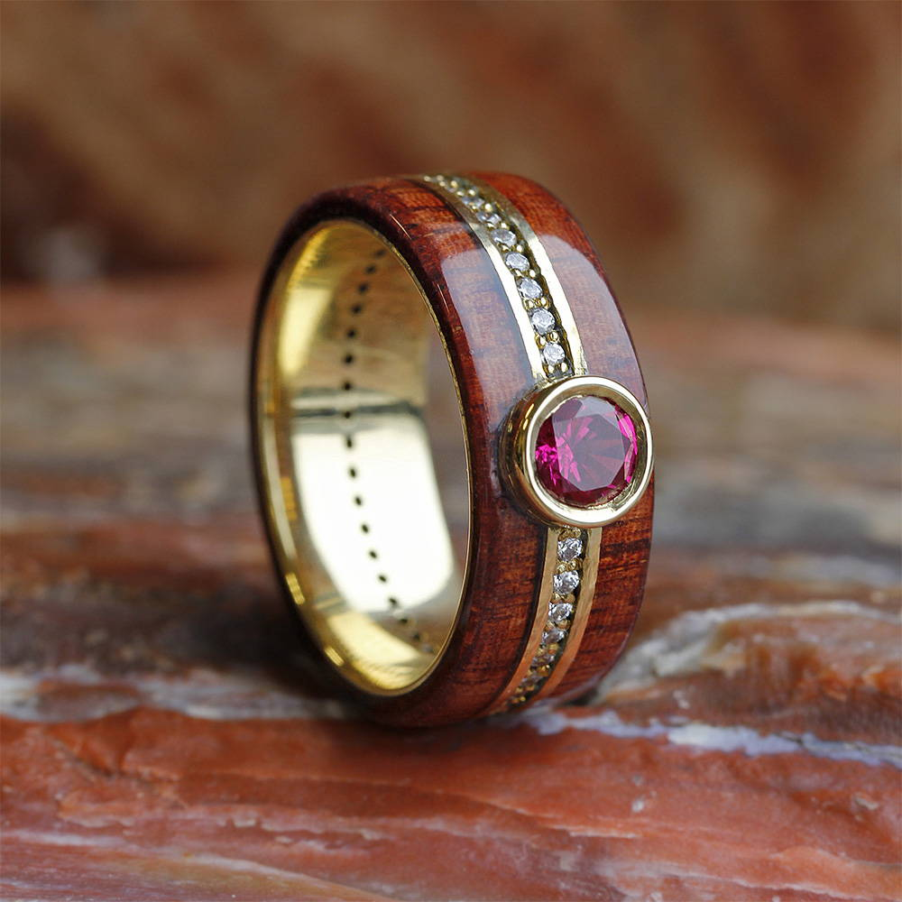 Ruby Wedding Ring With Yellow Gold