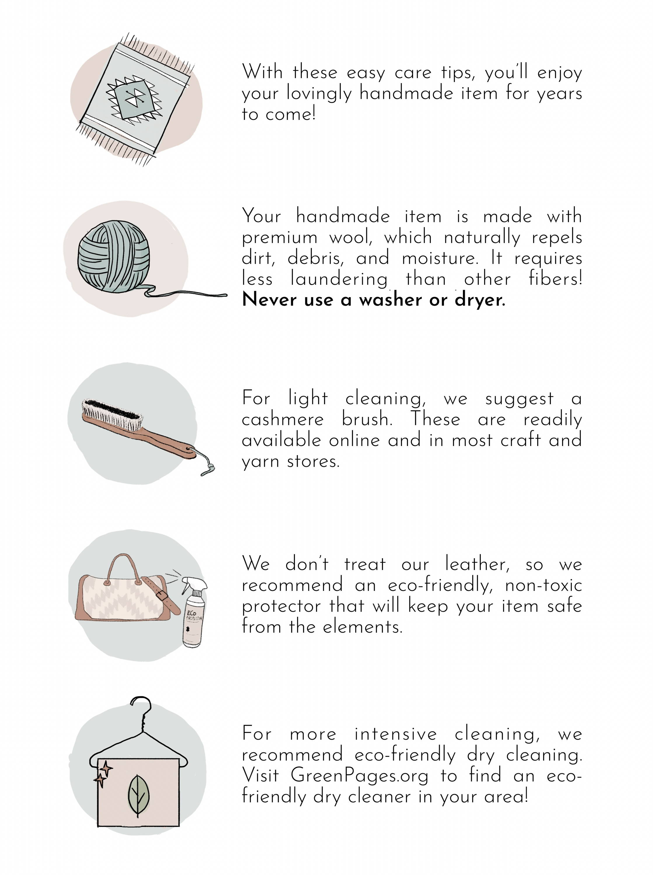 How to care for your Wool & Leather MZ Handbag Care Guide