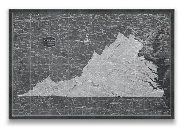 Virginia Push pin travel map modern slate