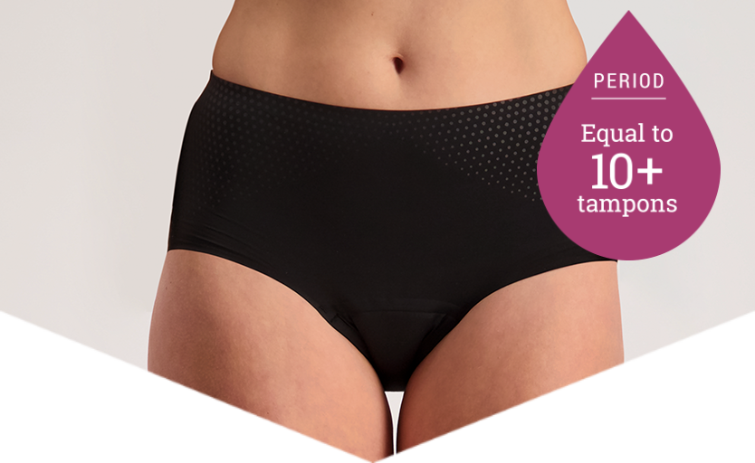 Full Brief Extra Black - Heavy Period Panties - 10+ Tampons Worth - Just'nCase by Confitex
