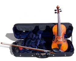 Viola, bow, and case