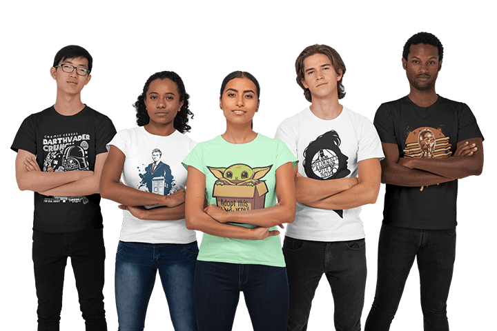 Group of People in Sci-Fi Shirts