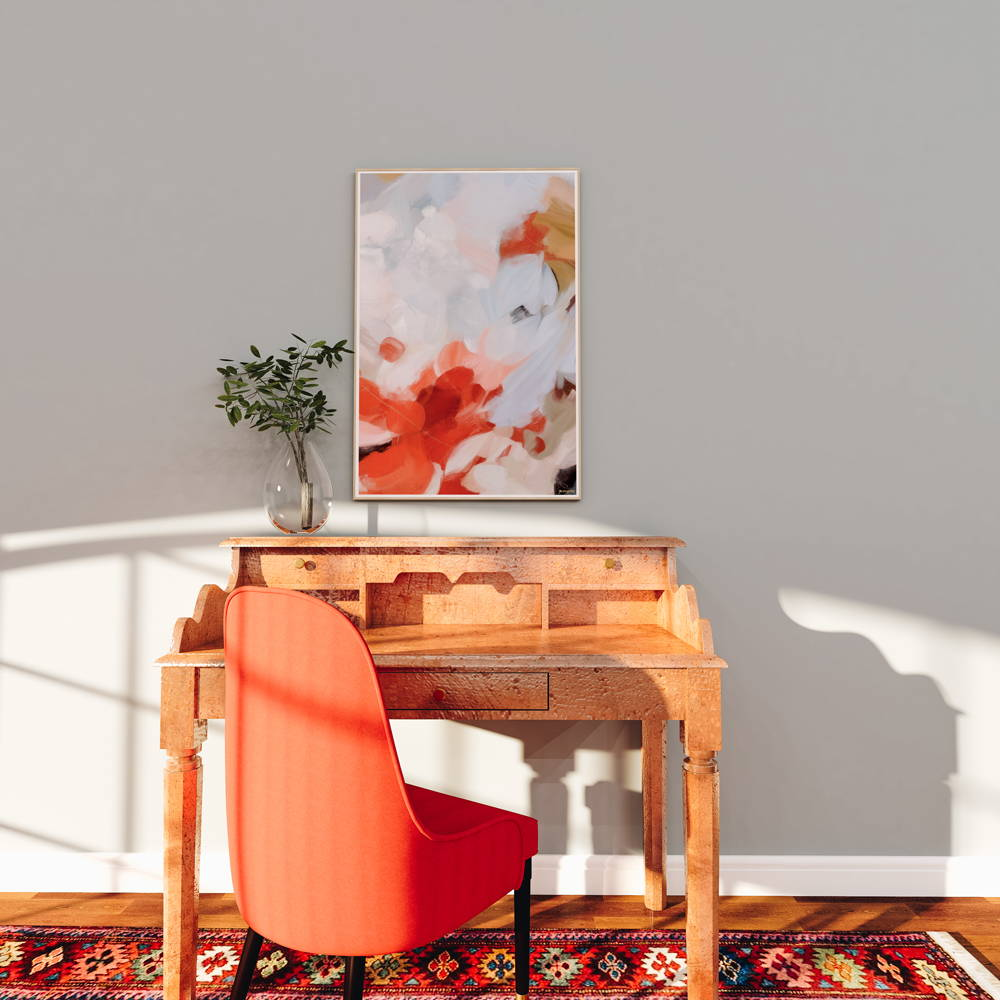 Bold red abstract wall art print in traditional home office decor via Parima Studio