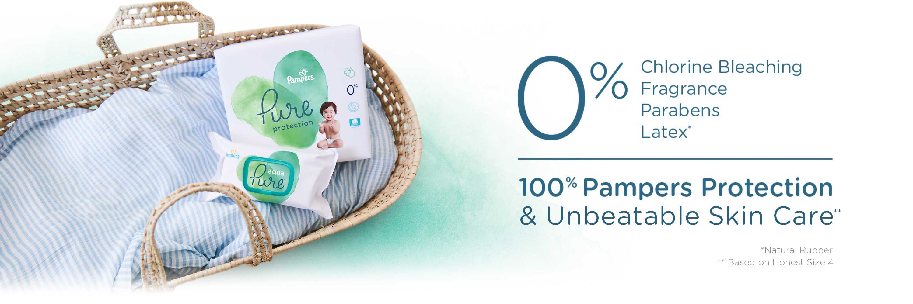 Pampers Pure Protection Diapers Have 0% Chlorine Bleaching, Fragrance, Parabens and 100% Pampers Protection