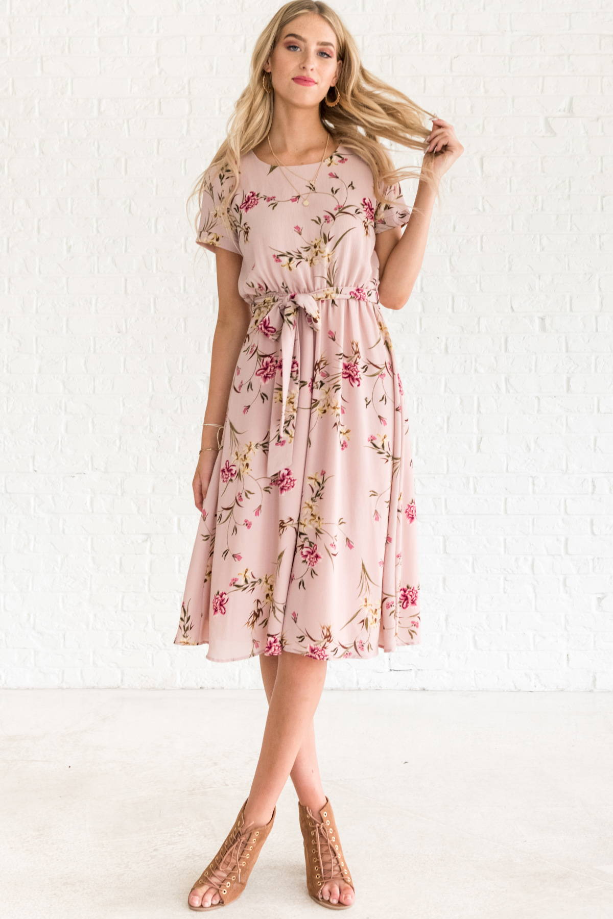Blush Pink Cute Floral Boutique Midi Dresses Business Casual Work Dresses for Women