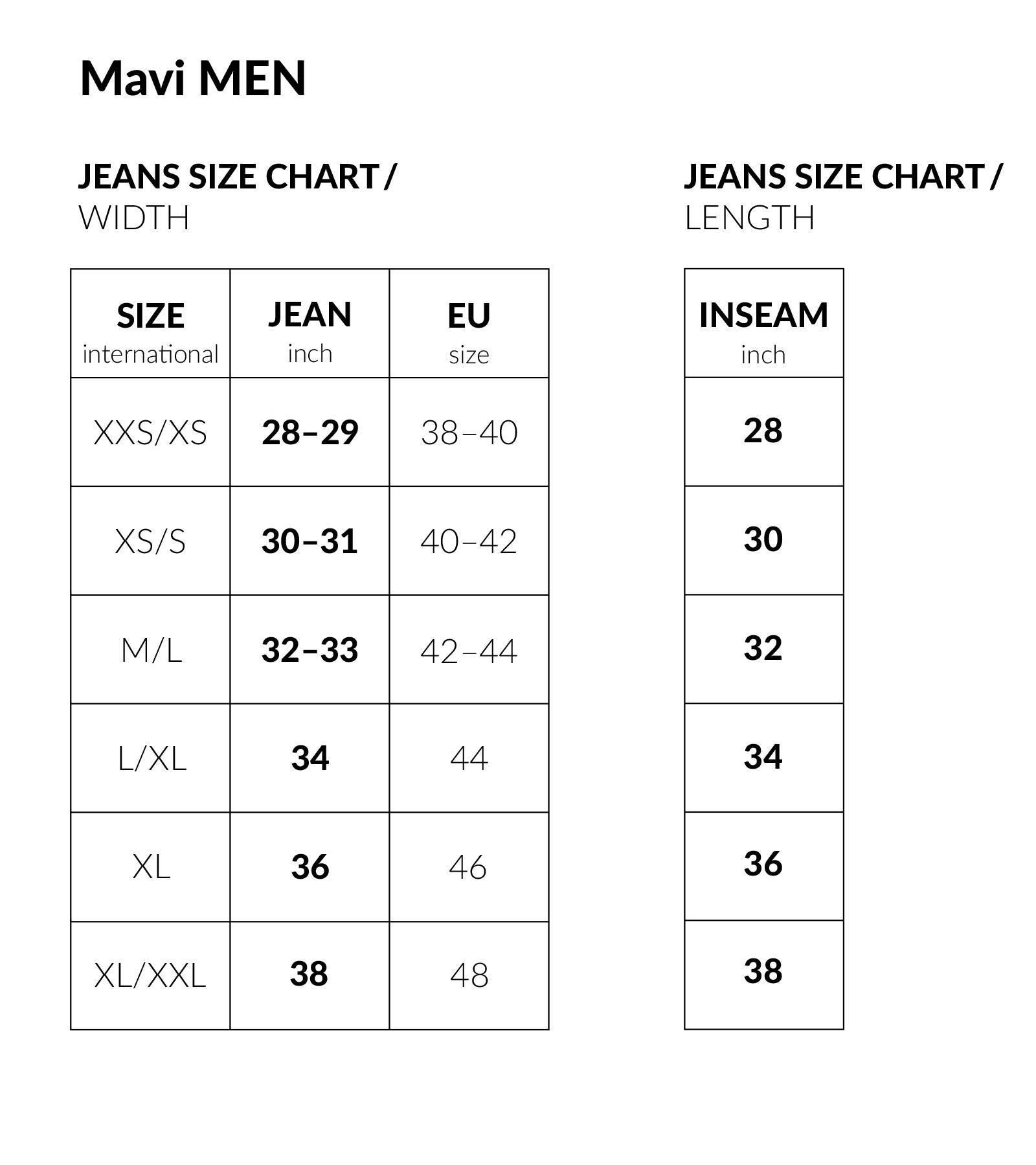 Mavi   Premium Jeans & Kleidung   Size Guide
