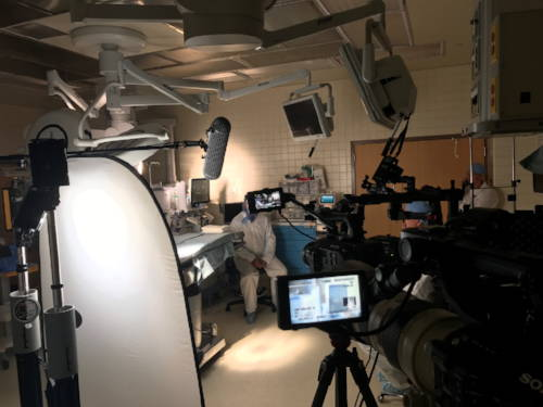 FoxFury Nomad lights illuminate a dark interview scene in a surgical room.