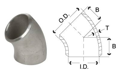 Stainless Steel Butt Weld Pipe Fitting - 45 Degree Elbow