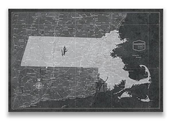 Massachusetts Push pin travel map modern slate