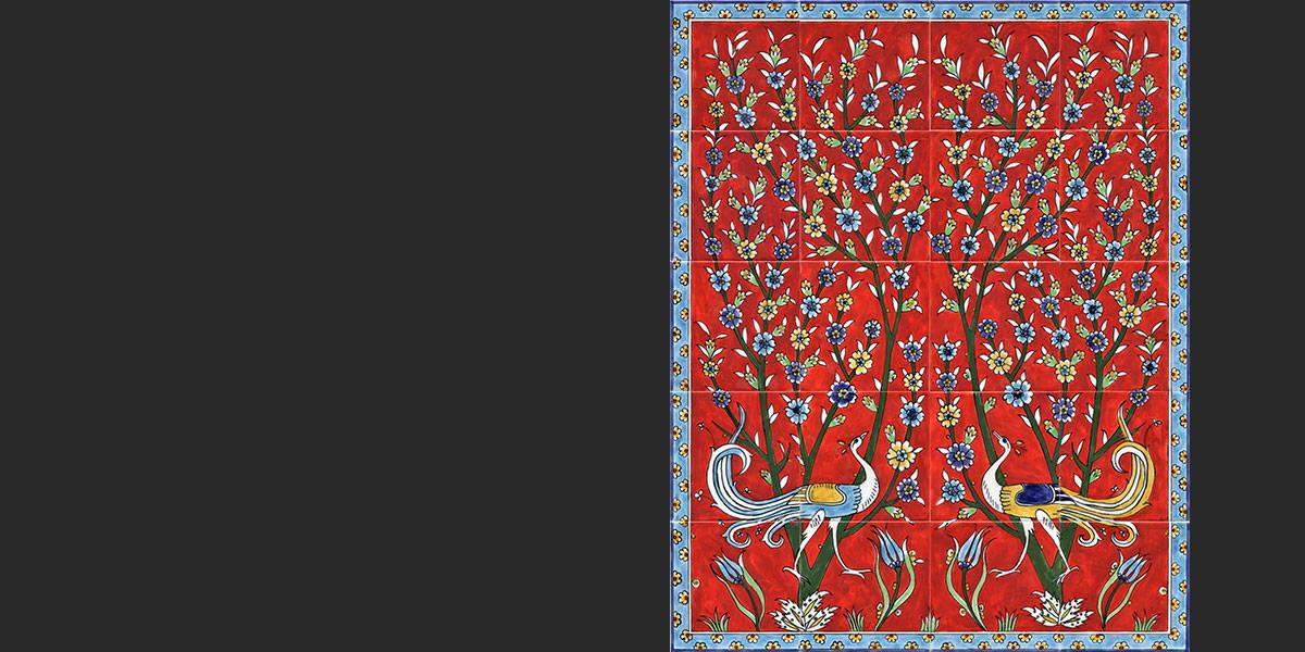 Red birds tile mural