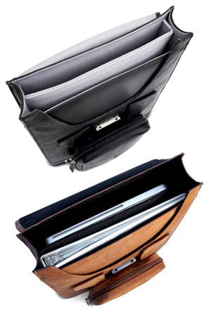 A look inside the vertical leather briefcase by mac case
