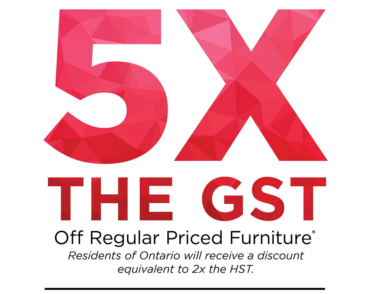 5x the GST Off Regular Priced Furniture