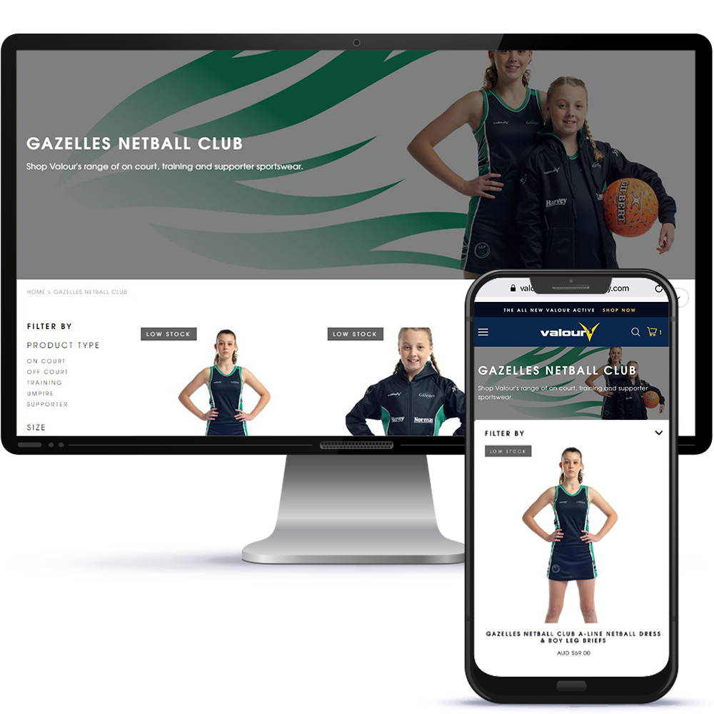 Valour Sport can create and host your team's online uniform shop