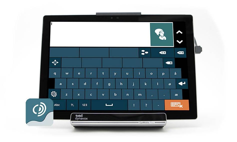 Skjermbilde fra Tobii Dynavox programvaren Tobii Dynavox Communicator 5 et QWERTY-tastatur