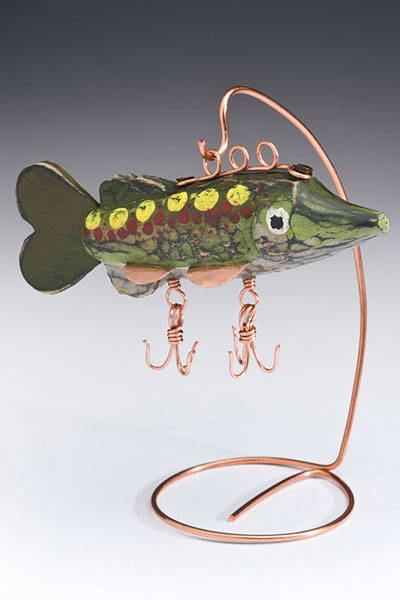 fishing lure finished carved piece