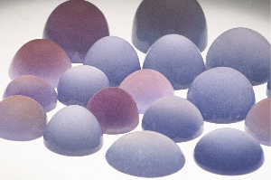 Blue Chalcedony and Purple Sage Chalcedony cabachons that are used in our iconic Mandala Rings