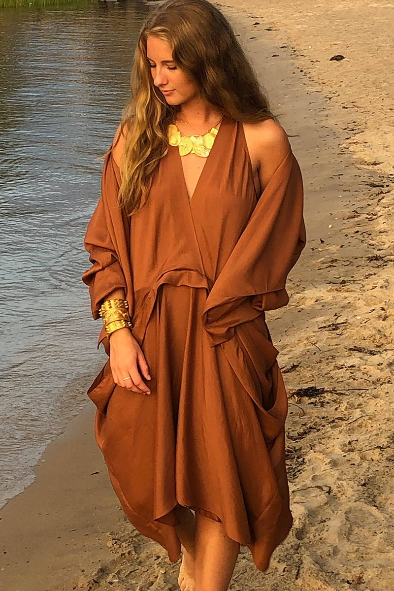 Rust v neck drapped dress