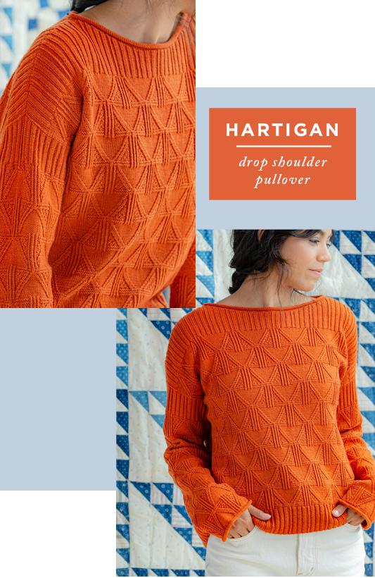Two images showing shoulder and front views of Hartigan: Drop Shoulder Pullover
