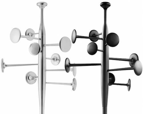 Wall hooks and modern coat stands make an opening statement.