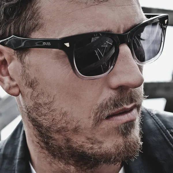 Male model wearing joiuss russ black wayfarer sunglasses