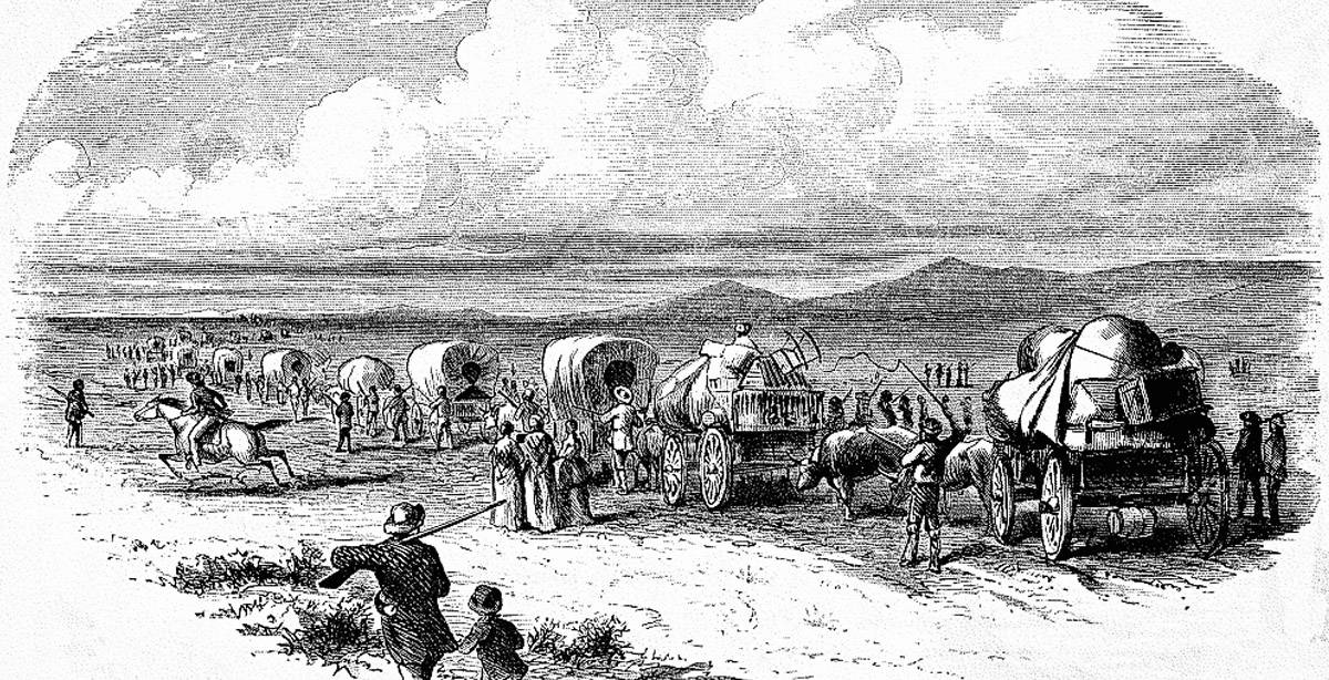 A day on the Oregon Trail drawing by unknown artist
