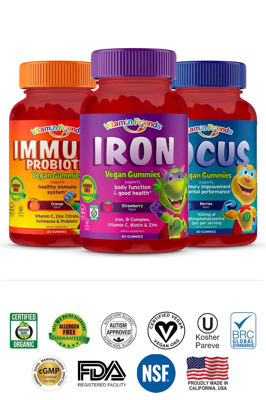 Vitamin Friends Immune Probiotic, Iron, and Focus