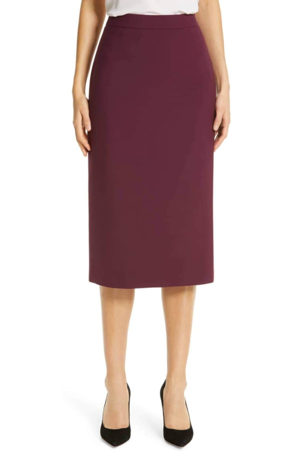 Burgundy Red BOSS Minoa Midi Pencil Skirt Business Casual for Women