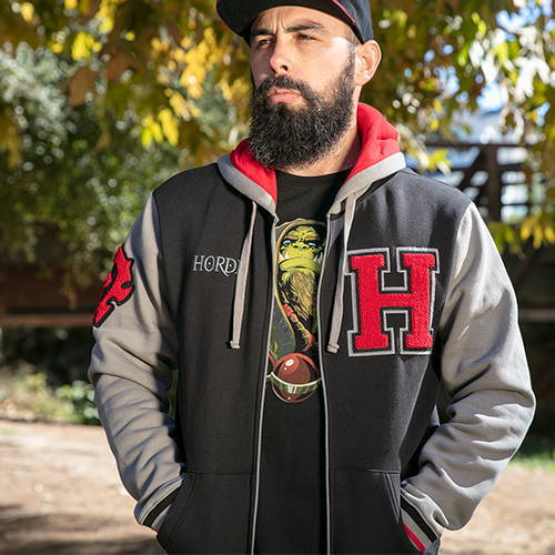 Photo of model wearing World of Warcraft Horde Varsity Hoodie