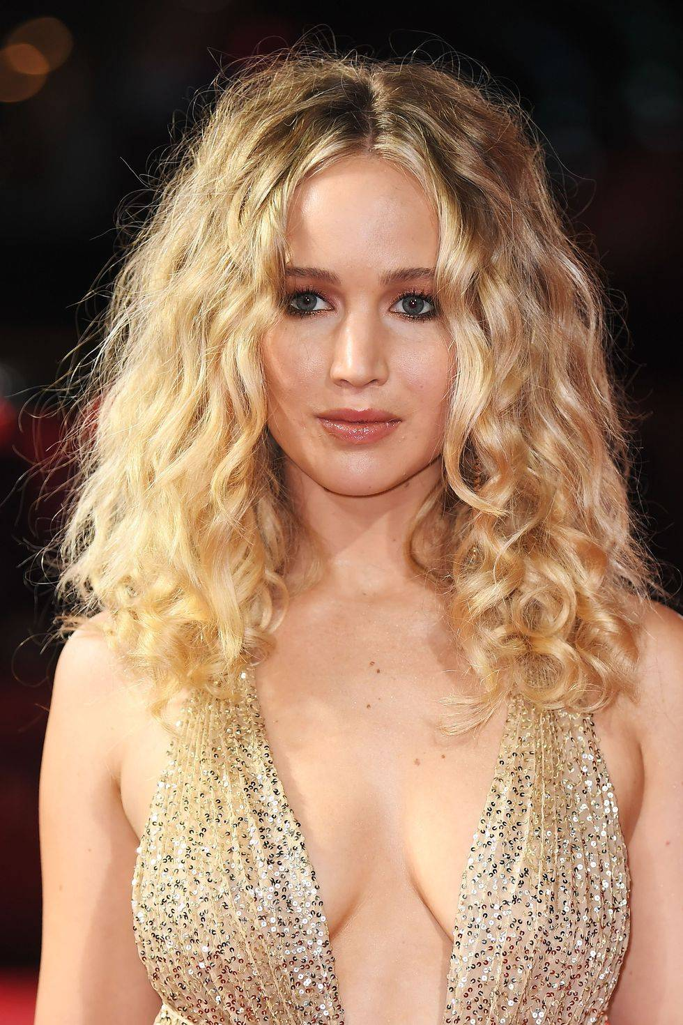 Jennifer Lawrence with curly hair