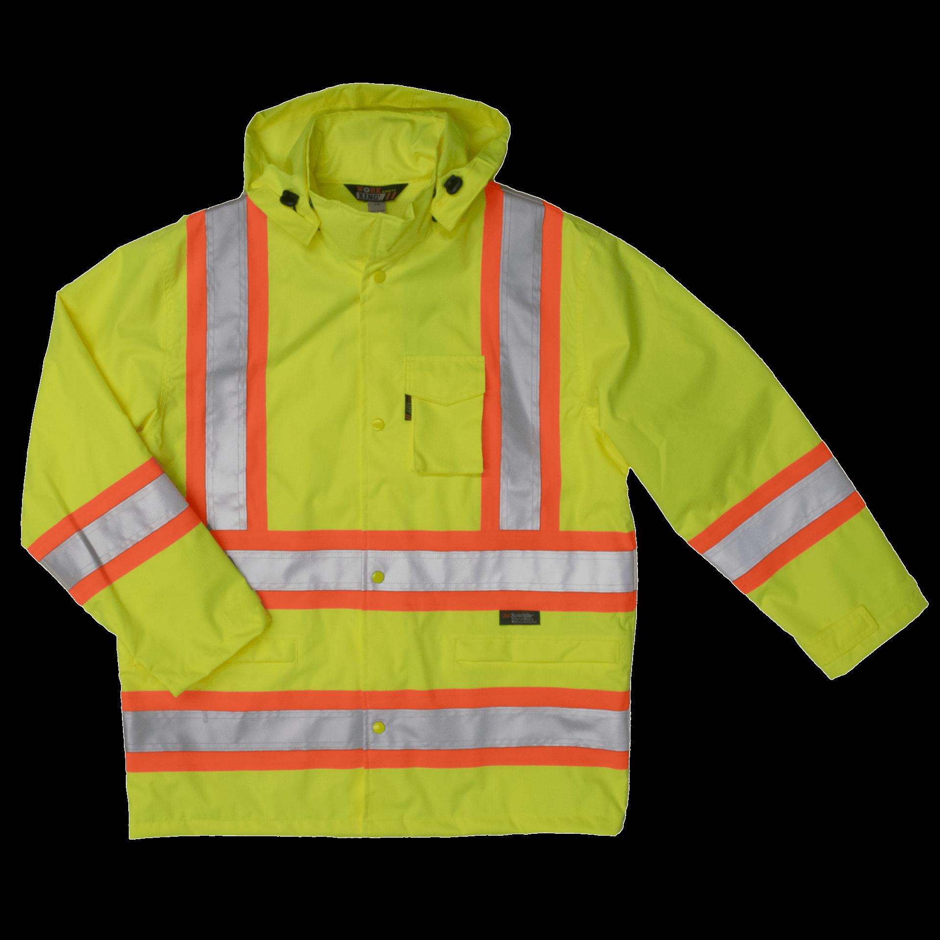 High Visibility Tough Duck Safety Rain Jacket S372