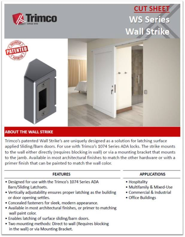 Wall Strike For Surface Applied Barn Doors