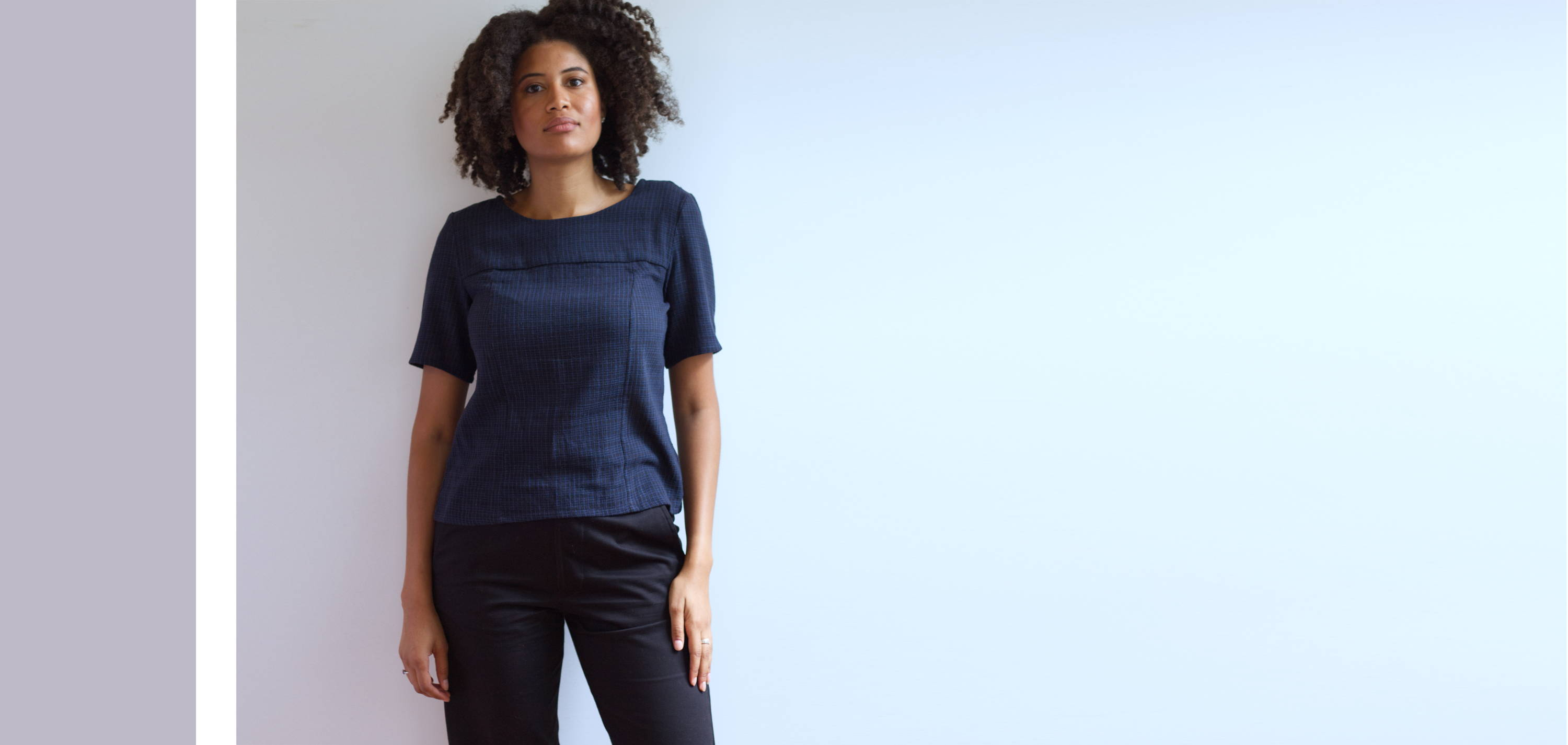 large photo, front view of the Handspun Cotton Seamed Top Black Navy Grid