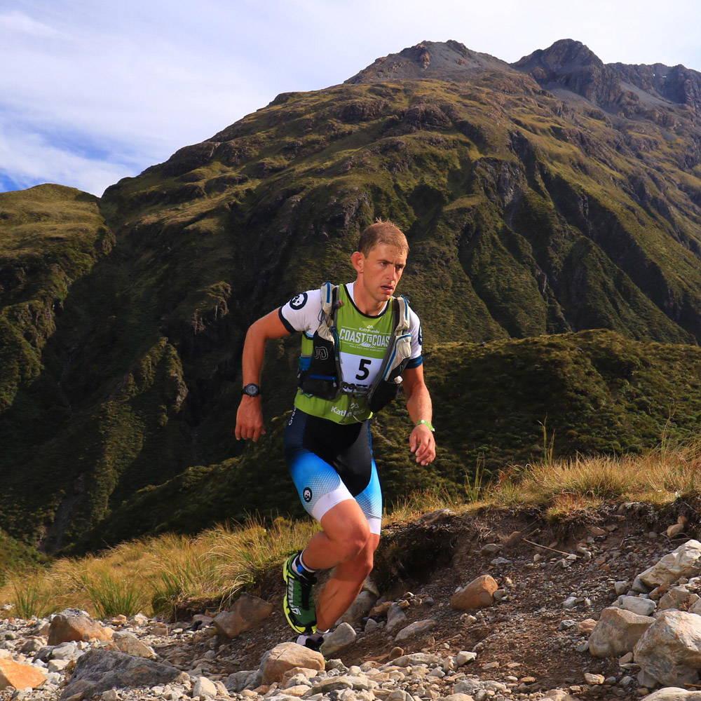 Scott McDonald running up  hill on the Coast to Coast
