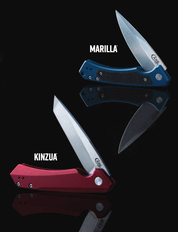 Marilla & Kinzua Modern Every Day Carry Knives photographed on a black background.