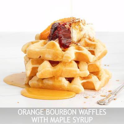 Orange Bourbon Waffles with Maple Syrup