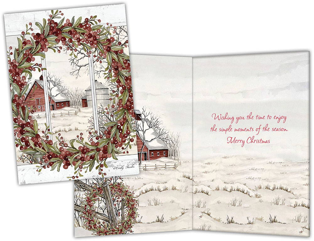 Boxed Christmas Card Country Scene
