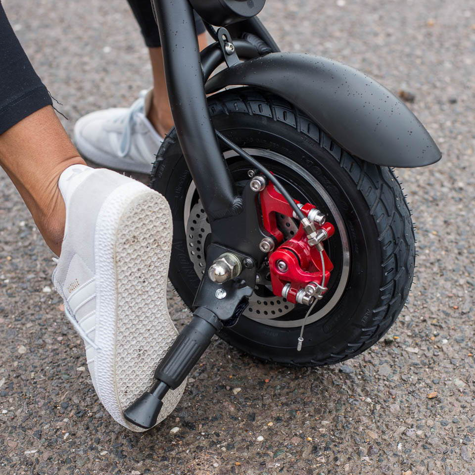 InMotion P1F hybrid scooter ebike folding kickstand