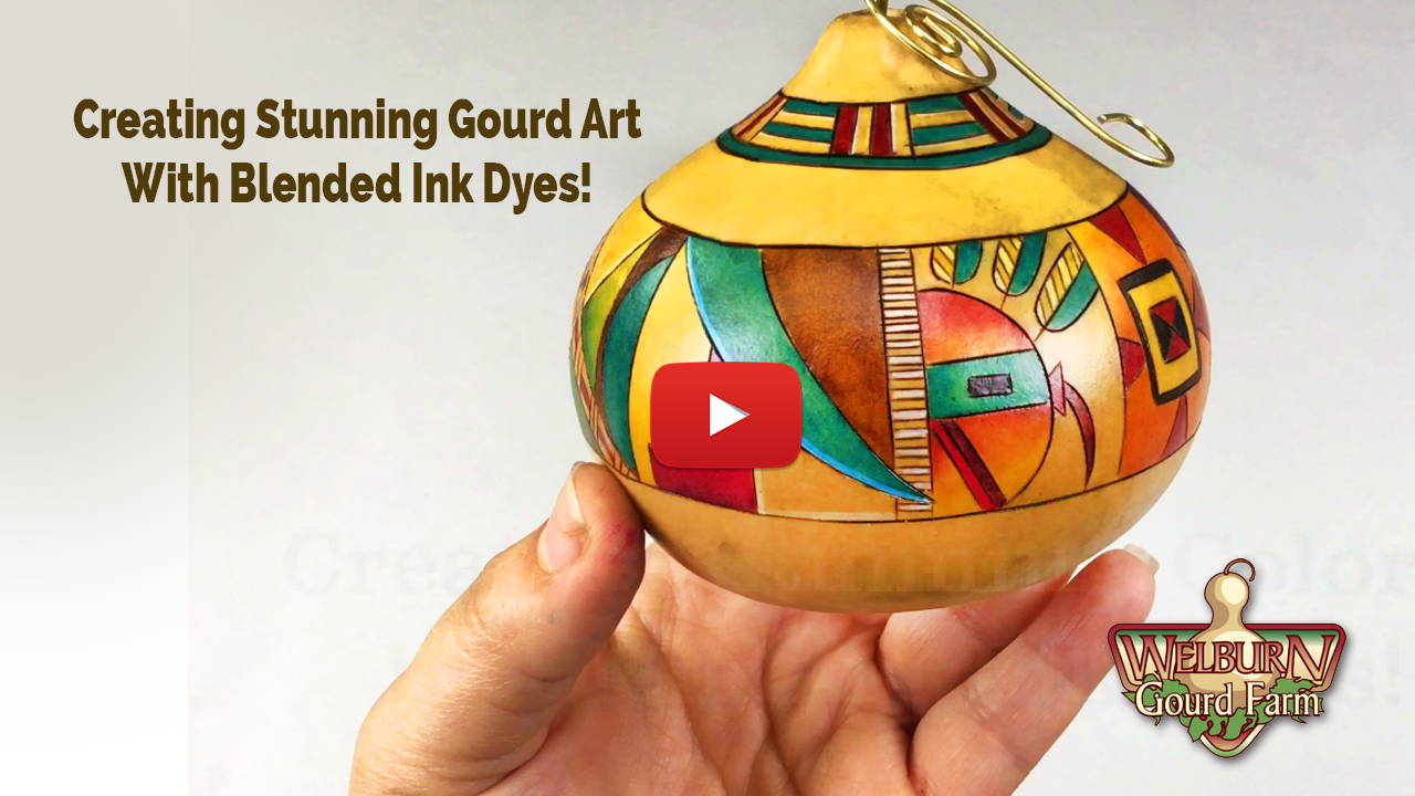 Watch Creating Stunning Gourd Art with Blended Ink Dyes!