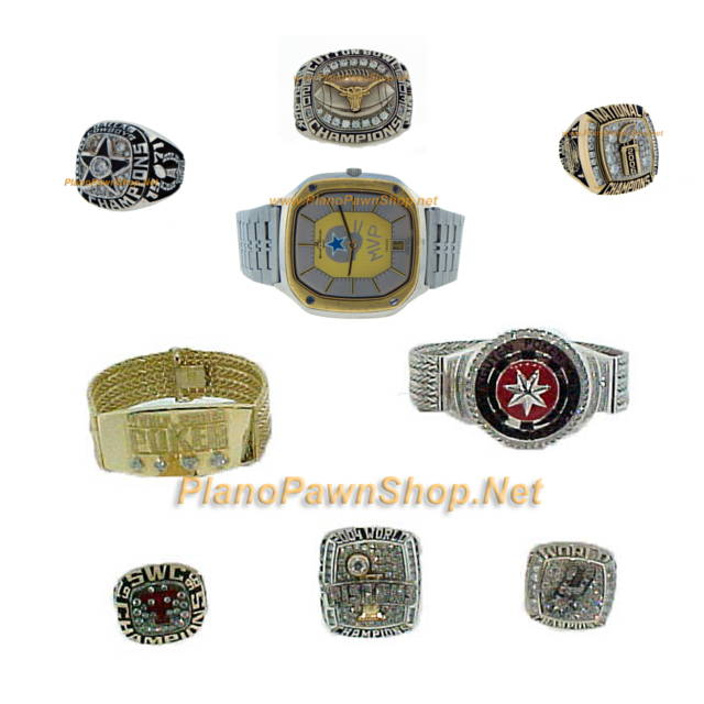 collection of plano pawn shop super bowl rings