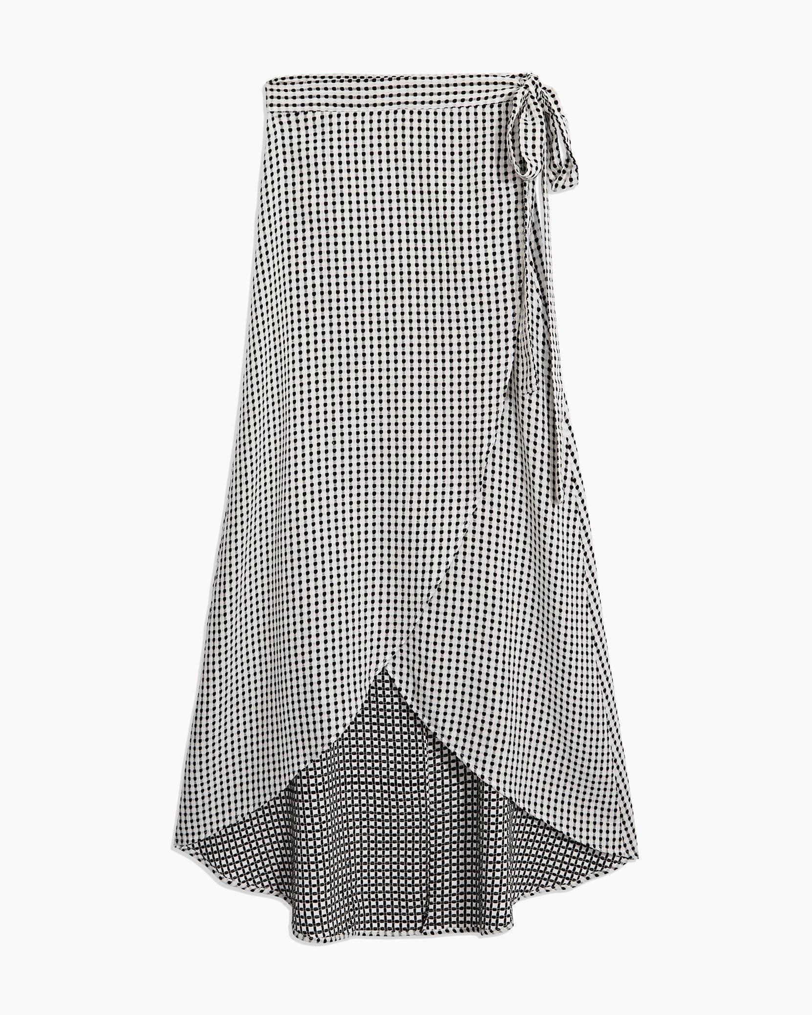 Amanda Texture Gingham Wrap Skirt