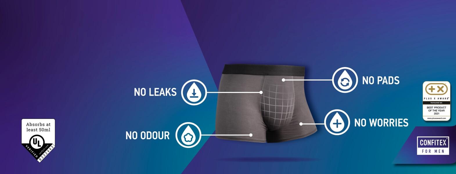 Men incontinence underwear. Best leakproof underwear for men