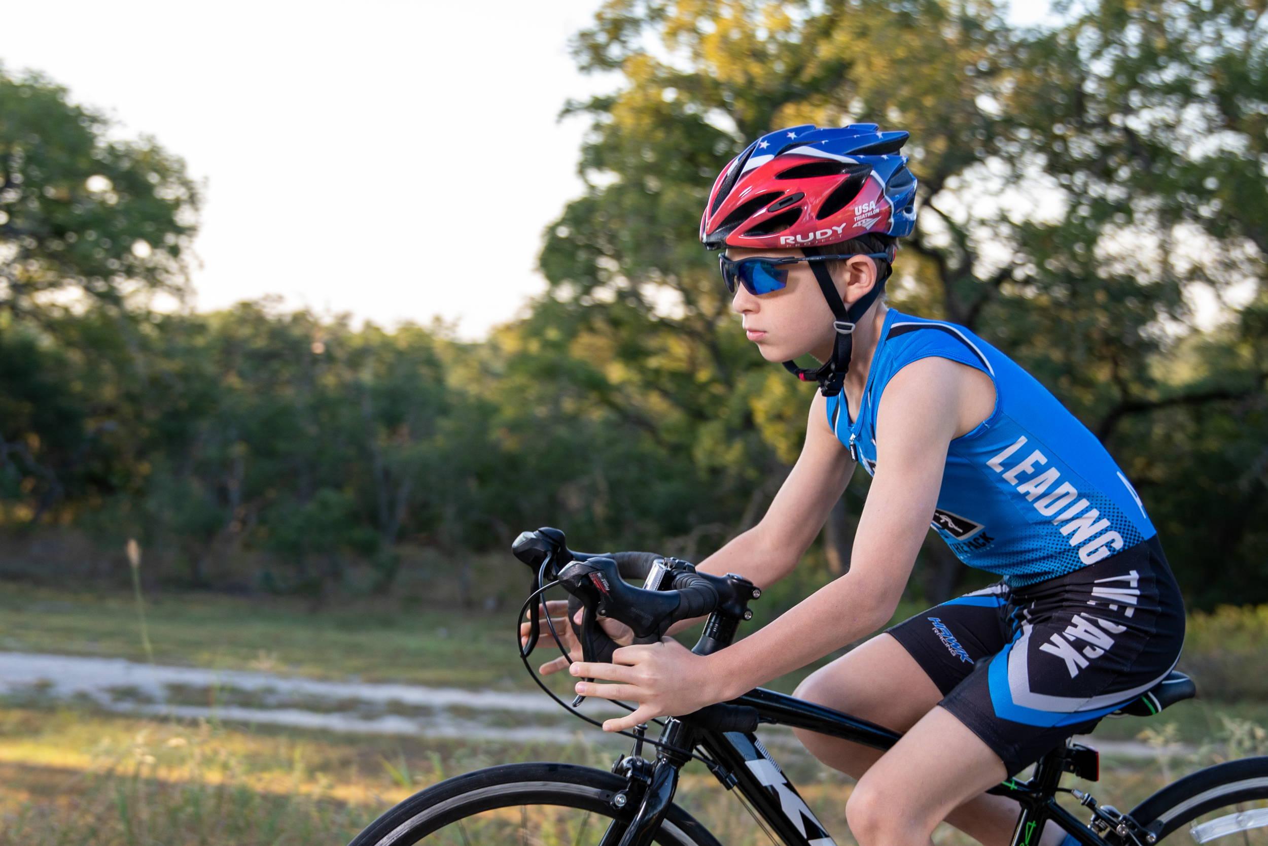 Rudy Project & USA Triathlon partnership Rush youth bike helmet worn by young boy