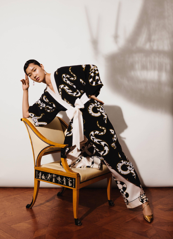 Queenie Ciro Snake Print Luxury Silk Kimono Olivia von Halle