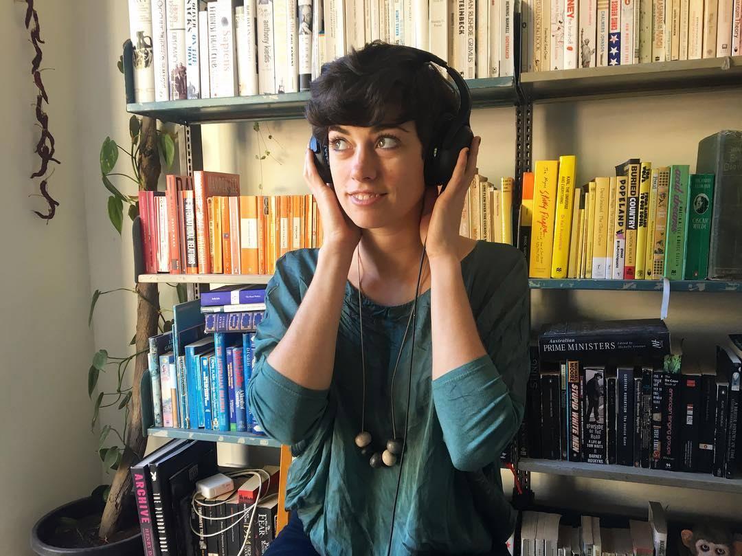 siobhan wearing headphones