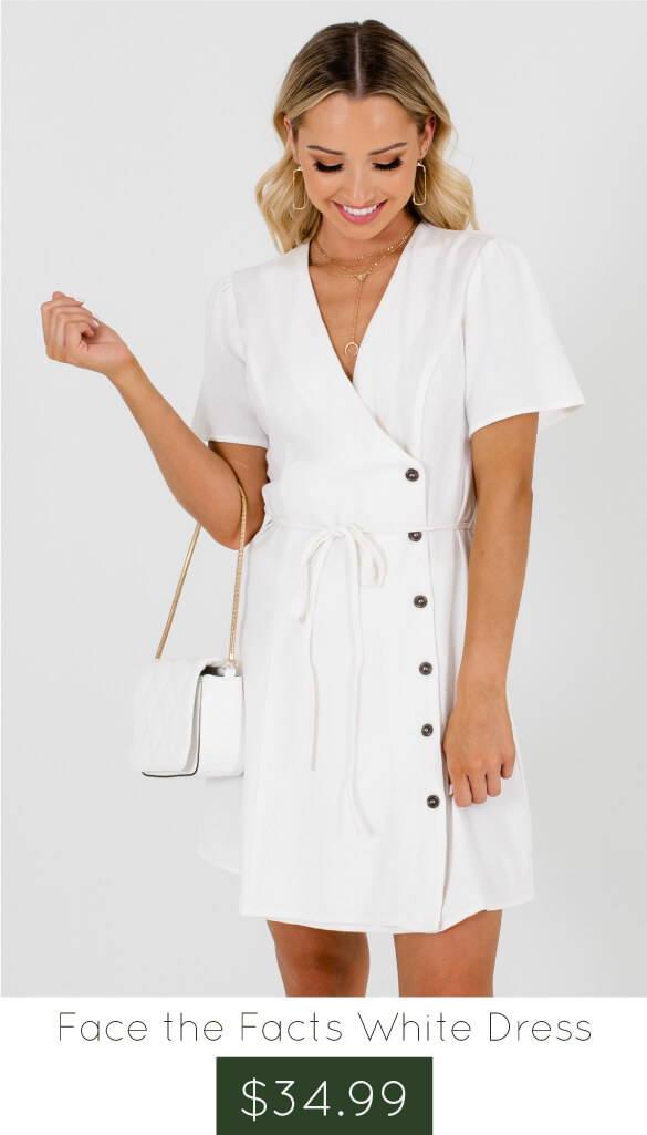 White Asymmetrical Hem Boutique Mini Dresses for Women