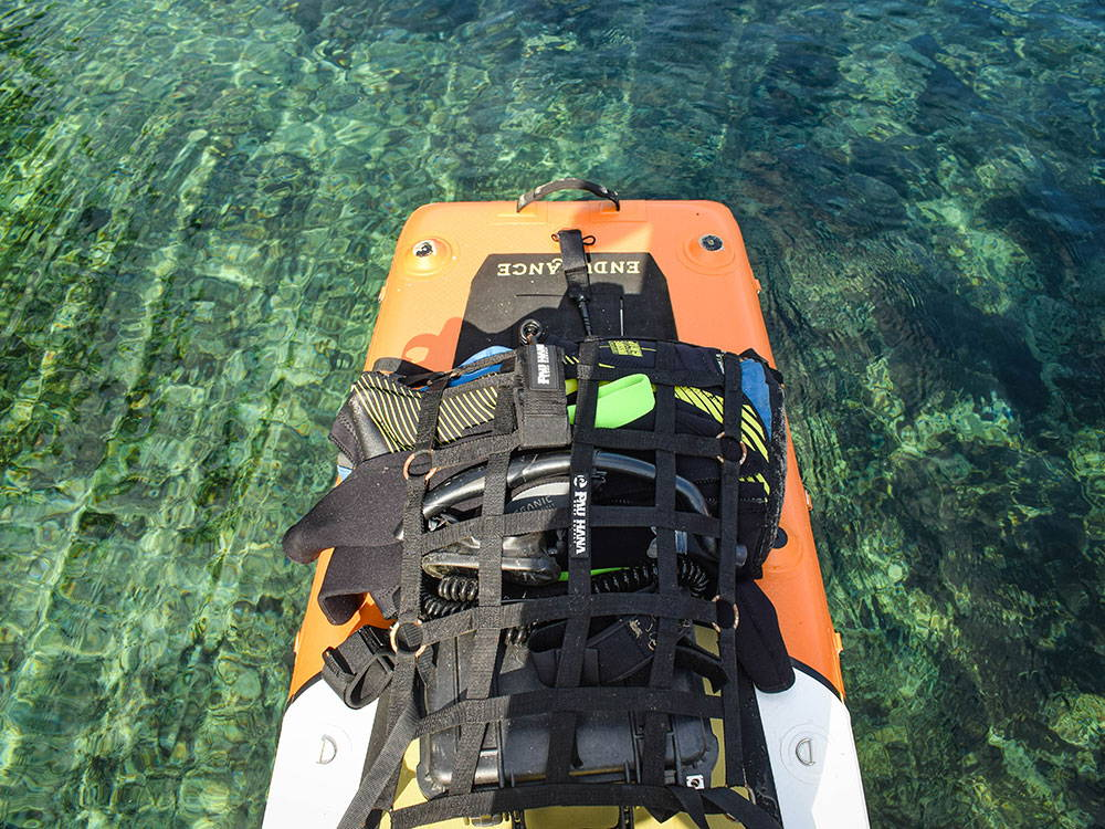 snorkeling gear attached to an SUP