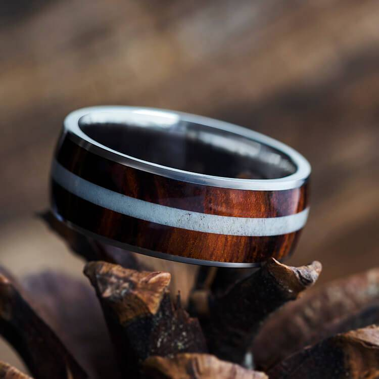 Deer Antler Ring, Wood Wedding Band in Titanium